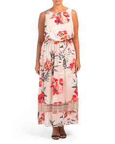 Plus Geranium Floral Maxi Dress