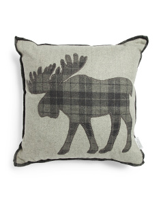 Made In India 20x20 Plaid Reindeer Wool Blend Pillow