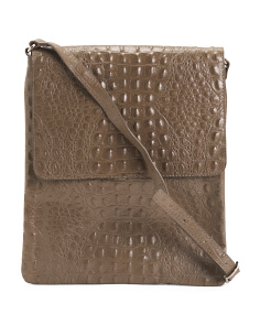 Made In Italy Leather Croc Crossbody