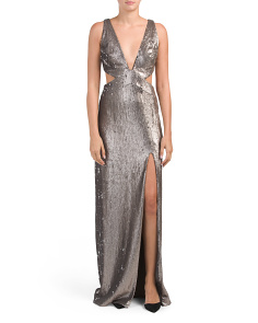 Sequin Gown With Cut Out Detail