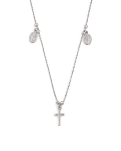 Made In Italy Sterling Silver Religious Charm Necklace