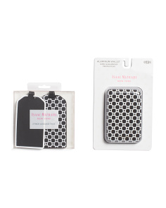 2pk Luggage Tag & Hard Case Rfid Wallet