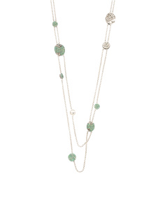 Sterling Silver Pave Chrysoprase 2 Row Station Necklace