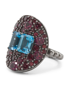 Made In Usa Sterling Silver Rhodolite Garnet And Blue Topaz  Ring