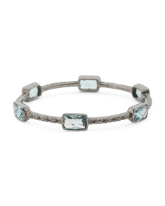 Sterling Silver Teal Quartz Engraved Flower Bracelet