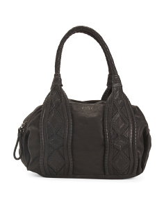 Leather Satchel With Geometric Design