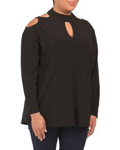 Plus Cut Out Shoulder Mock Neck Top