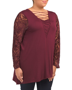 Plus Lattice V-neck Top With Lace Sleeves