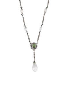 Made In Usa Sterling Silver Chrome Diopside Rock Crystal Drop Necklace