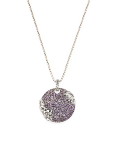 Made In Usa Reversible Sterling Silver Pave Amethyst Flower Necklace