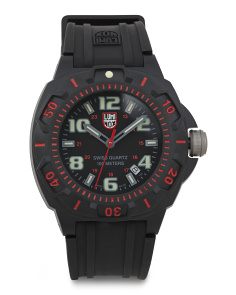 Men's Swiss Made Sentry Rubber Strap Watch With Red Accents
