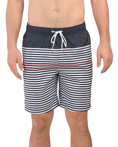 Pinstripe And Color Block Swim Trunks