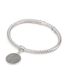 Made In Italy Sterling Silver Cz Basket Weave Coin Bracelet
