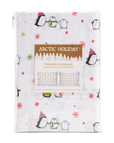 Happy Christmas Penguins Pillowcase Set