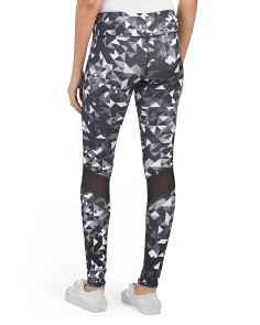 Printed Leggings With Back Mesh Panels