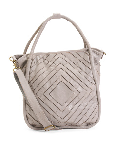 Leather Patchwork Shoulder Tote