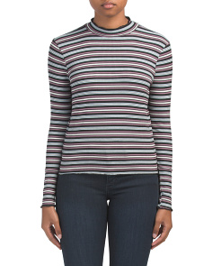 Made In Usa Long Sleeve Striped Turtleneck