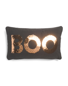 12x20 Reversible Sequin Boo Pillow