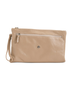 Made In Italy Leather Pouch Wristlet