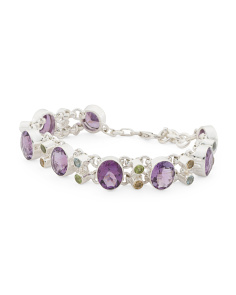 Made In India Sterling Silver Amethyst And Gemstone Bracelet