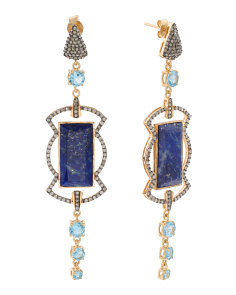 Made In India Sterling Silver Diamond Blue Topaz Earrings