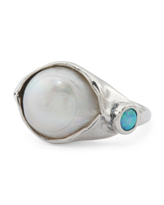 Made In Israel Sterling Silver Baroque Pearl And Opal Ring