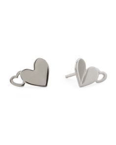 Sterling Silver Mouni Double Heart Stud Earrings