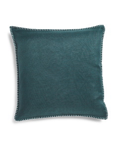 22x22 Velvet And Faux Linen Pillow