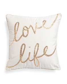 20x20 Sequin Love Life Velvet Pillow