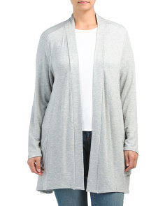 Plus Mid Length Cardigan With Pockets ... 6a2e2714a