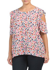 Plus Floral Ruffle Cold Shoulder Top