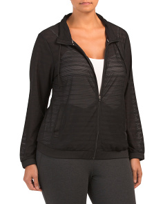 Plus Jacquard Mesh Stripe Jacket