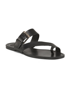 Asymmetrical Leather Toe Ring Sandals