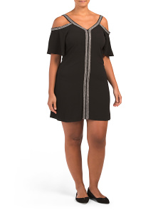 Plus Embroidered Ribbon Trim Dress