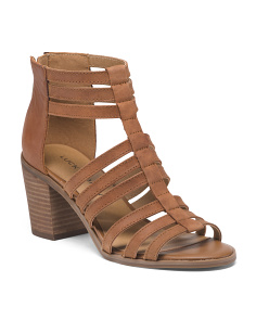 Leather Caged Stacked Heel Sandals