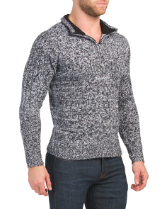 Soft Touch Marled Zip Mock Neck Sweater
