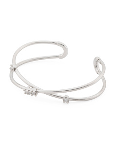 Made In Italy Sterling Silver Cz Crossed Cuff Bracelet