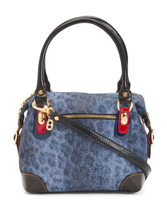 Made In Italy Animal Print Leather Satchel