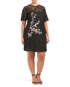 Plus Embroidered Lace Dress