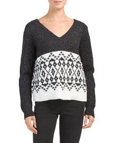 Textured Sweater With Farisle Print