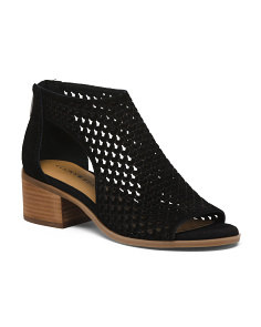 a2512046c2f Perforated Peep Toe Suede Booties ...