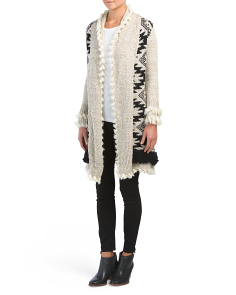 Cozy Duster Cardigan With Faux Fur Trim