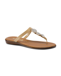 Made In Italy Ornament T-strap Flat Sandals