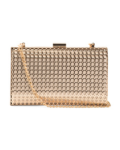Metal Framed Clutch With Chain Shoulder Strap