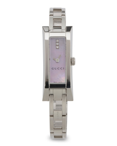 Women's Swiss Made Diamond Accent Rectangular Dial Watch