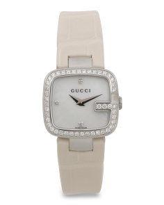 Women's Swiss Made Diamond Bezel White Leather Strap Watch
