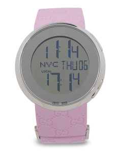 Women's Swiss Made Digital Logo Rubber Strap Watch