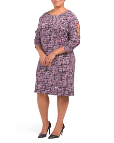Plus Split Sleeve Shift Dress