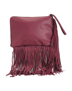 Leather Fringe Clutch