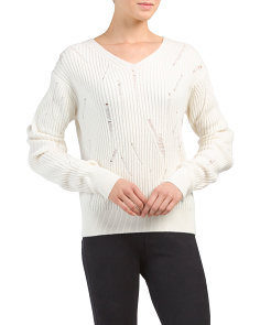 Drop Needle High V Neck Lambswool Sweater